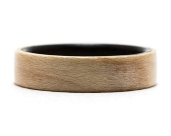 Maple Wood Ring Inner Lined With Ebony, Bentwood Ring, Wooden Ring