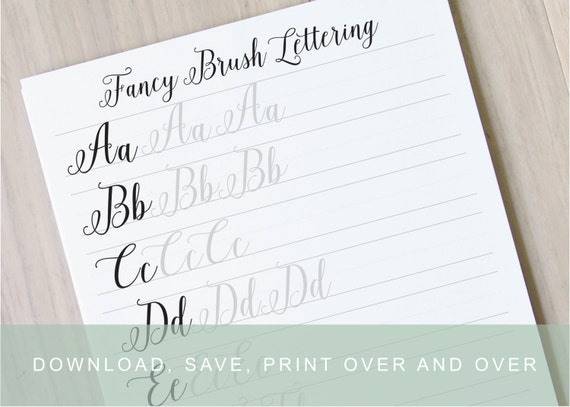 Fancy brush calligraphy lettering worksheets calligraphy