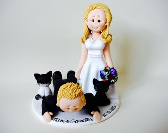 Scottish Groom in Tartan Kilt Wedding Cake Topper - Custom made bride and groom wedding posed cake topper with two pet cats