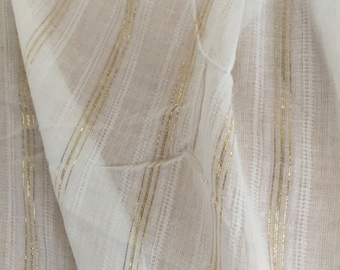 White Cotton and Golden Silk Scarf. Thoreau Jacquard Sparkly Wrap. Gifts for Her.