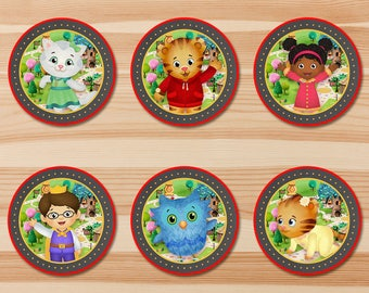 Daniel Tiger Birthday Cupcake Toppers - Red Chalkboard - Boy Daniel Tiger Stickers - Daniel Tiger Birthday Party - Daniel Tiger Party 2 in