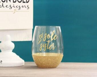 Sole Sisters wine glass, running wine glass, glitter wine glass, running gift, glitter glass, gift for runners, running buddy