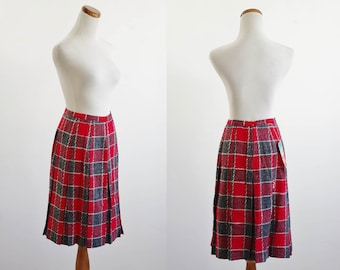 Vintage Plaid Skirt -- 50s 60s Skirt --Red and Gray --  Pleated Wool Skirt --Schoolgirl Skirt --  Deadstock -- Darlenette Teen-Mate -- Small