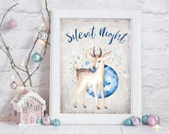 Silent Night Wall Art, Deer Christmas, Wall Art Print, Christmas Decoration, XMAS, Picture, Holiday Decor, Silent Night Quote, Nursery