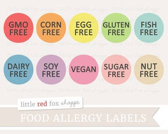 Food Allergy Label Clipart, Food Label Clip Art Dairy Free Gluten Free Soy Free Cute Digital Graphic Image Design Small Commercial Use
