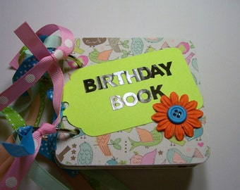 Green and Pink Birthday Book, Birthday Book, Birthday Reminder Book, 12 month, Birthday, Birthday Calendar, Mini Birthday Book