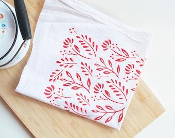 Red Scandinavian floral tea towel