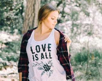 CLEARANCE - Kerouac Tank - Inspirational, Love is All Quote - White, Wearable Art, Beatnik Adventure Clothing, Screen printed, Handmade