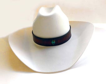 handmade leather hatband with turquoise center stone