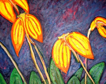 Flaming Orchids- original oil pastel painting