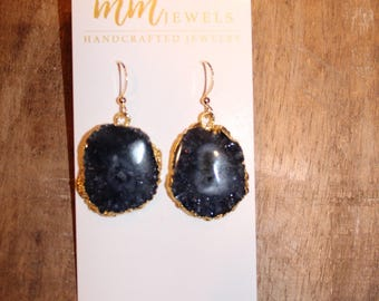 Black Quartz Dangle Earrings
