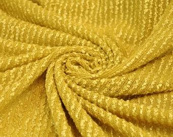 Fabulosity At it's Finest Mustard Gold Sweat Knit Fabric Soft Ruffle Rib Sweater Knit Fabric by the yard - 1 Yard Style 6049