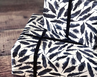Black inky feathers Wrapping Paper - Raven feathers paper - Birthday Wrapping Paper - Wedding Wrap - witch stationery - spooky wrap