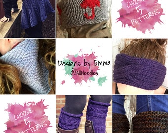 PATTERN DISCOUNT PACKAGE Choice of 5 Listings Deal - Selected Patterns Only Five Pattern Bundle Mix and Match