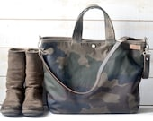 Camouflage Waxed Canvas tote / Carry all Leather bag Diaper bag /Messenger bag  Work bag /Leather straps / Men messenger /Travel bag /Zipper
