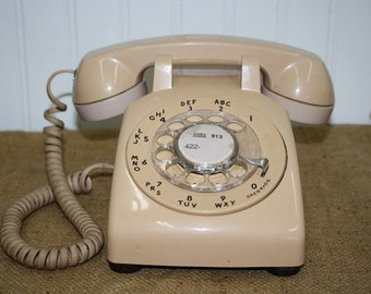 Bell Systems Rotary Desk Phone - Tan - item #2933
