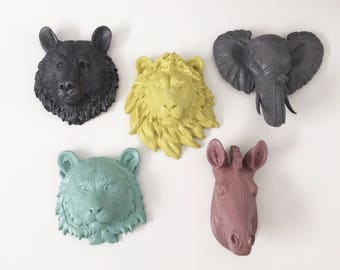 ANY COLOR SET of 5: You Choose 5 Small Animal Head Wall Mounts // Faux Taxidermy // Choose Sm. Bear, Wolf, Lion, Tiger, Zebra or Elephant