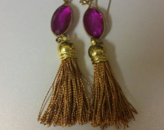 Fushia and gold tassel dangle earrings