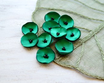 Small sew on flower appliques, satin flowers, silk flowers for wedding, fabric flowers bulk, artificial poppy (10pcs)- EMERALD GREEN POPPIES