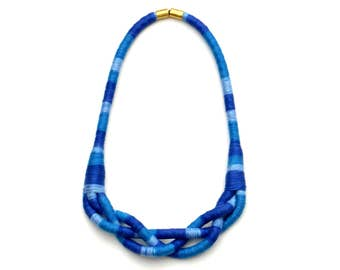 Blue Rope Braided Necklace, Textile Statement Necklace, Unique Gift For Her, Mothers Day Necklace, Spring Jewelry, Colorful Fabric Necklace