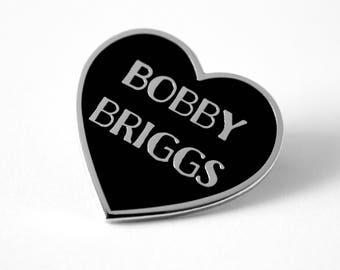 "Bobby Briggs Black Silver Heart Pin // Twin Peaks inspired // 1.25"" hard enamel lapel pin"