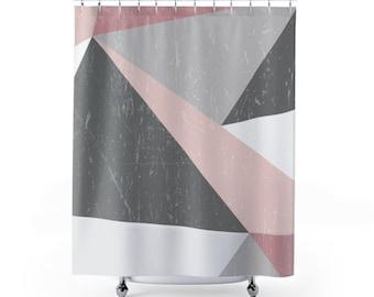 Shower Curtain, Scandinavian grunge, minimalist design, geometric shapes, bathroom decor, bath decor