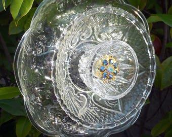 Yard Art Plate Flower, Decorative Garden Art, Recycled Garden Art, Clear Glass Flower, Plate Flower, Garden Decor, Suncatcher