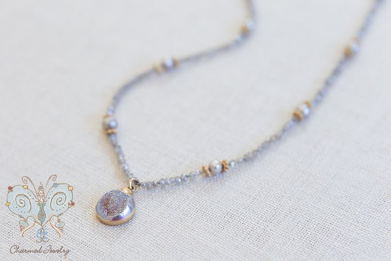 Gray Druzie Necklace
