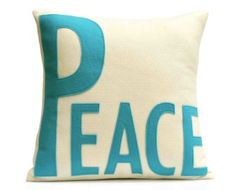 Peace Throw Pillow Cover Appliquéd in Peacock and Antique White Eco-Felt 18 inches