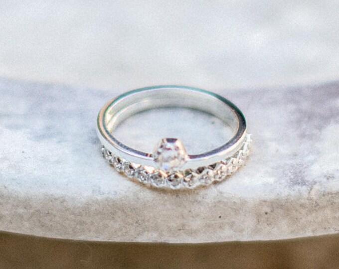 Diamond band - wedding band - 18ct white gold - geometric pattern setting - conflict free diamonds