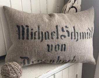 Antique Grainsack Pillow w/Authentic Stencil