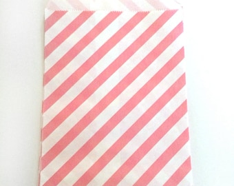 paper bags - treat bag - wedding favor bags - flat paper bag - gift bags - kraft paper bags - diagonal stripes bags - set of 12 - light pink