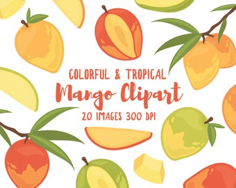 Mango Clipart - 20 Hi Res PNG Files - Mango Illustrations, Fruit Clipart, Garden Clipart, Tropical Clipart, Summer Clipart