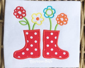 986 Rain Boots and Flowers Machine Embroidery Applique Design