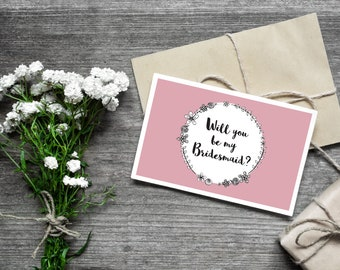 Will you be my bridesmaid card / pink floral wreath / wedding stationery