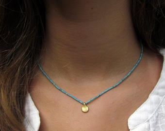 Tiny Turquoise And A Gold Teardrop Necklace, Gold Necklace, Turquoise Necklace, Tiny Turquoise Necklace