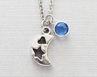 Moon Necklace, Crescent Moon, Star Heart, Celestial, Sky, BFF Gift, Friend Birthday Gift, Silver Necklace, Swarovski Channel Birthstone