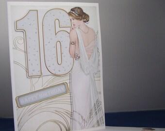 Art Deco Card, 16th Art Deco Birthday Card, Girl 16th Birthday,16th Birthday Card, Girl Birthday Card, Birthday Card