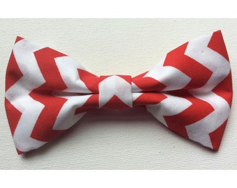 Red & White Chevron Bow Tie