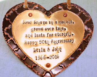 Personalized Anniversary Ornament - Hand Stamped Gift - Primitive Rustic Heart