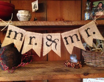 Burlap Mr. and Mr. Bunting, Burlap Bunting, Wedding Bunting, Pennant, Garland