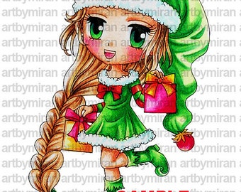 Digital Stamp - Elfie Elizabeth(#149), Christmas Digi Stamp, Coloring page, Printable Line art for Card and Craft Supply