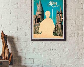 20% OFF!! Harry Potter Movie Poster - Harry Potter Print - silhouette Vintage Style Magazine Retro Print Cinema Studio Watercolor Background