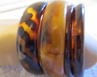 Lot of Four (4) Vintage Lucite Plastic Faux Tortoise Shell Bangle Bracelets