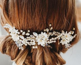 Swarovski crystal Wedding hair pin bridal hair accessory, ivory flower, crystal, diamanté and fresh water pearl (Iris Hair Pin x3)