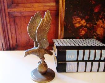 Vintage Brass Eagle Figurine, Patriotic Brass Eagle, Americana, Home Office Decor, Mounted Brass Eagle