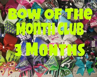 Cheer Hair Bow of the month club 3 months