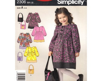 Girls Dress Pattern Simplicity 2306 Empire Prairie Dress Long Puff Sleeves, Purse Girls Size 3 to 8 Sewing Pattern UNCUT