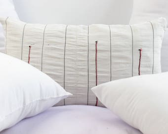 VINTAGE Hmong Pillow Hand Woven HEMP Organic HMONG Ethnic A Piece Of Tribal Textile Striped White Cream