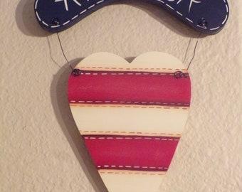 Handpainted Patriotic Heart decor, - America